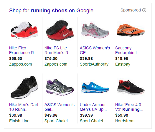 Google Shopping search results for running shoes.