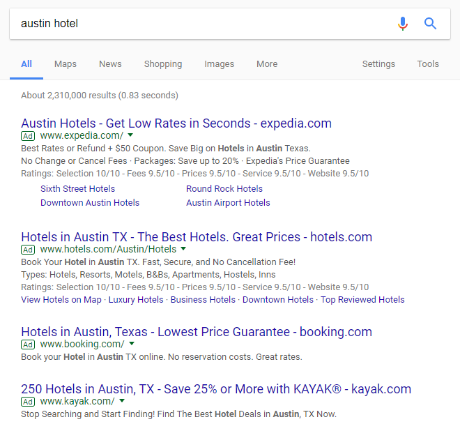 ads on search results page