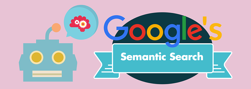 google bot with semantic search thought bubble and google logo