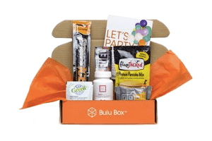 open orange bulu subscription box with gifts