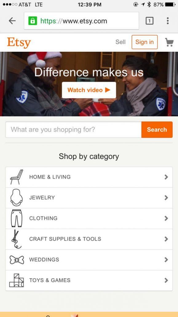 etsy mobile shopping home page