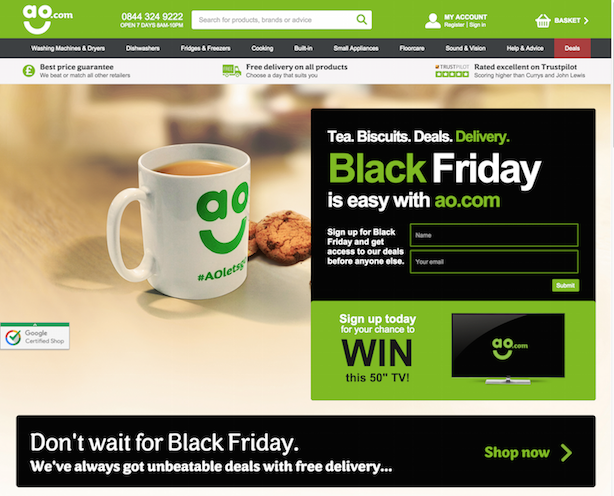AO Black Friday Lead Generation Landing Page
