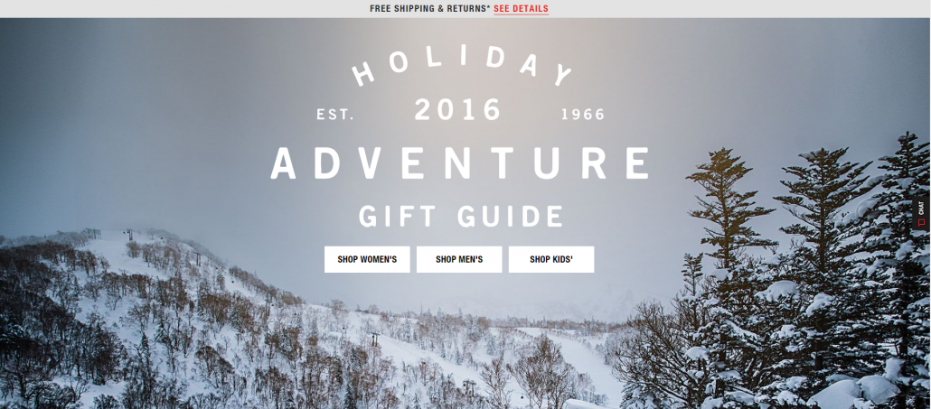 North Face holiday gift guide landing page