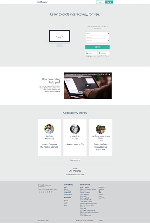 codecademy landing page full