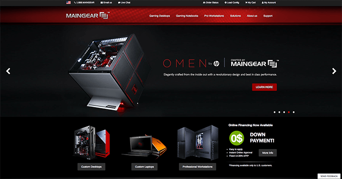maingear landing page above the fold