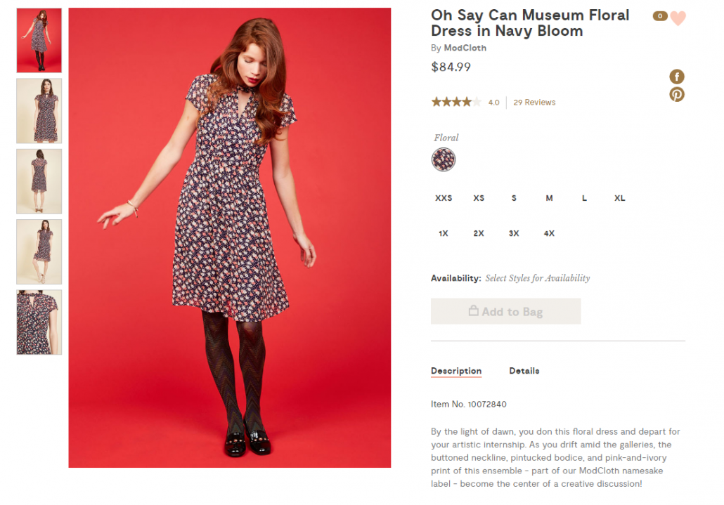 Modcloth product page with a model in a floral dress