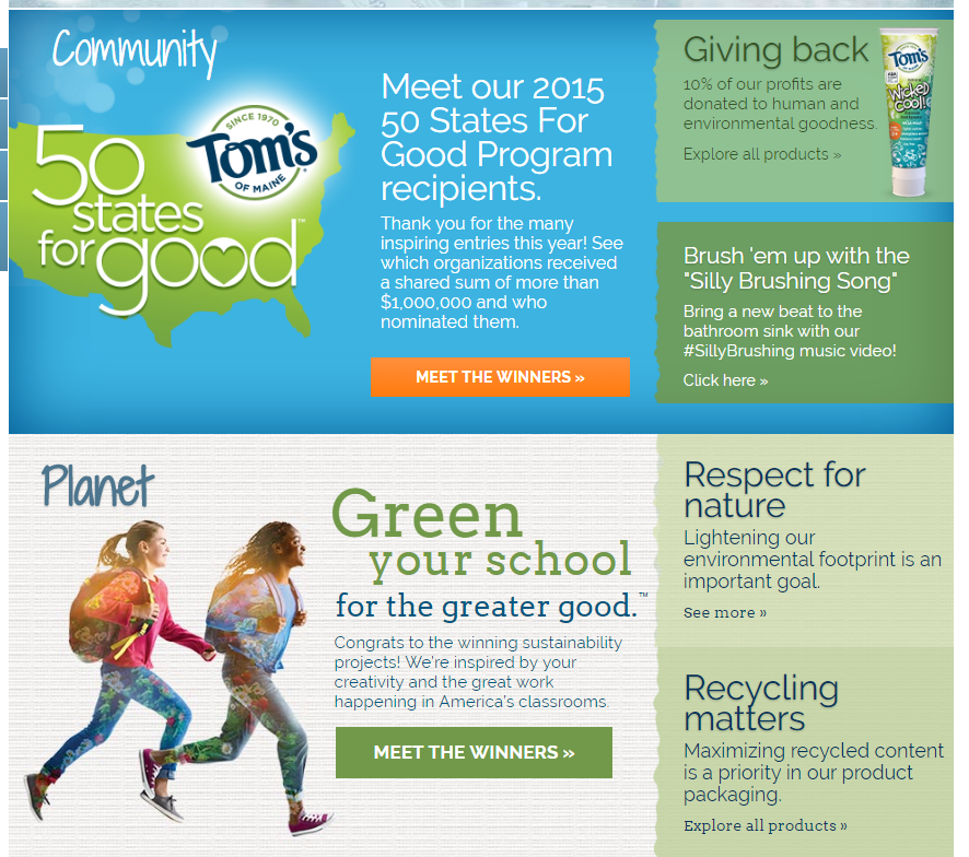 Tom's of Maine homepage highlights their community involvement