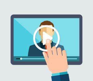 Hand pushes play button on webinar, illustrating video SEO concept