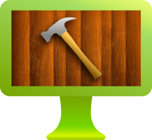 leverage green computer with hammer and wood showing offline service videos