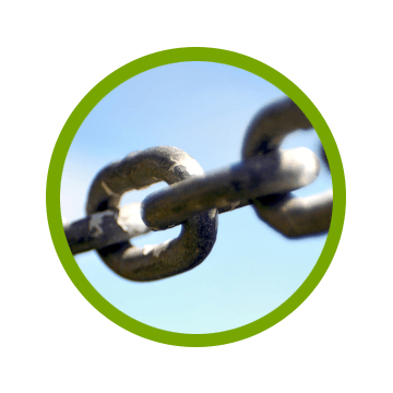 steel chain with shallow depth of field representing link building