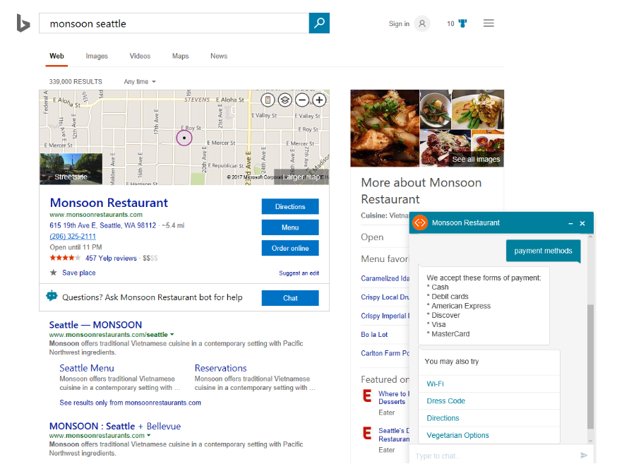 Bing's chatbot feature reflects local SEO trends