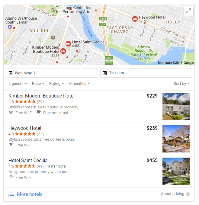 best boutique hotels in Austin search results in local pack