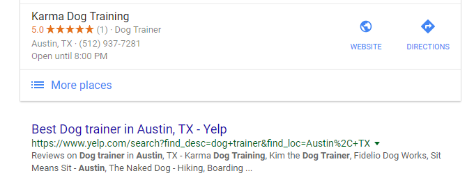 Yelp listing below Google's local pack