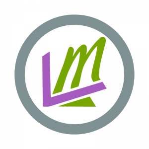 leverage logo with white border and background