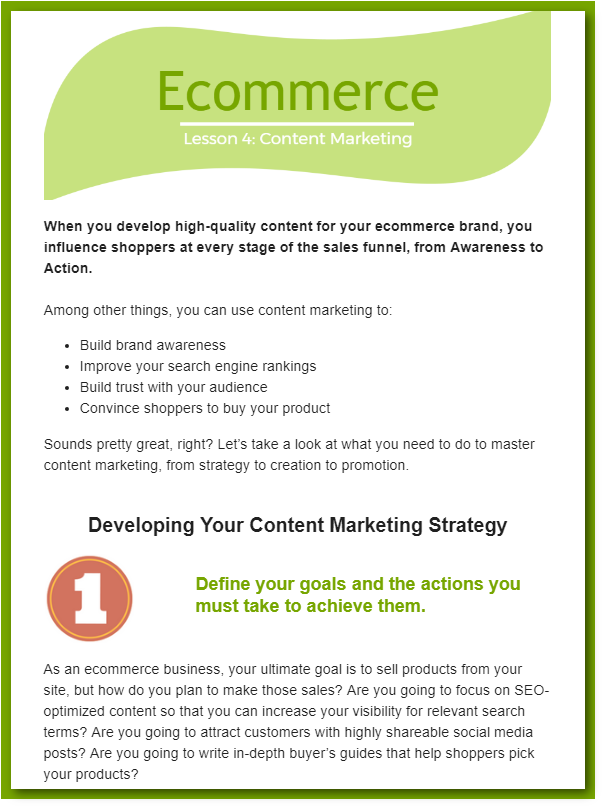 content marketing for ecommerce email preview