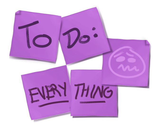 purple sticky notes with to do everything