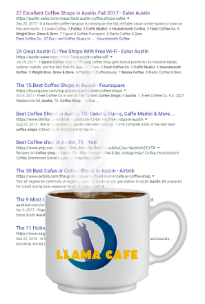 coffee shop example search rankings
