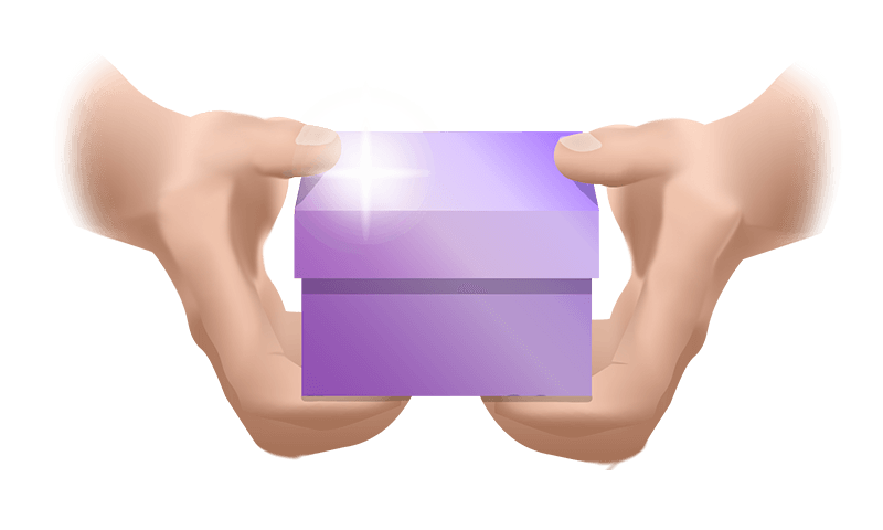 hands holding purple gift box for free marketing knowledge concept