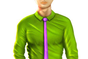 professional male green shirt purple tie