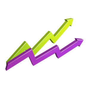 line graph with two upward trending leverage colored lines