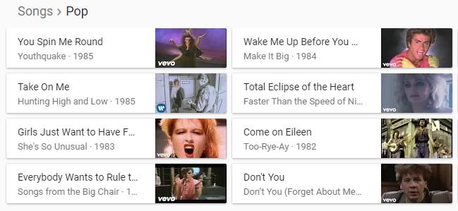 80s pop songs google carousel result
