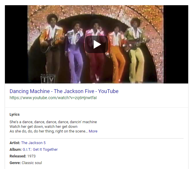 youtube video result in google SERPs for jackson 5 song