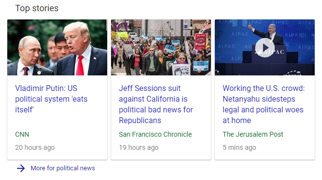 political news carousel google search result