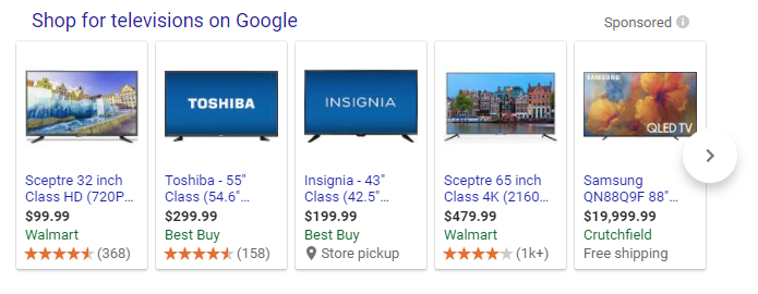 google tv shopping search result