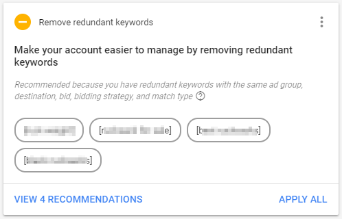 adwords redundant keywords recommendation screenshot