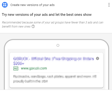 adwords ad revision recommendation screenshot