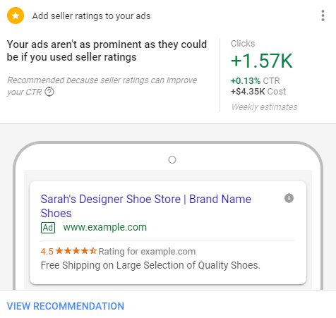adwords seller ratings recommendation screenshot
