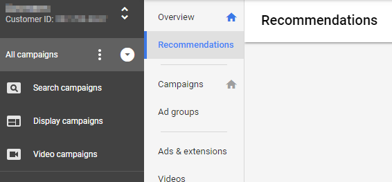 adwords recommendation tab screenshot