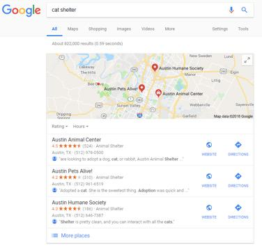 google serp for cat shelter query with local reviews