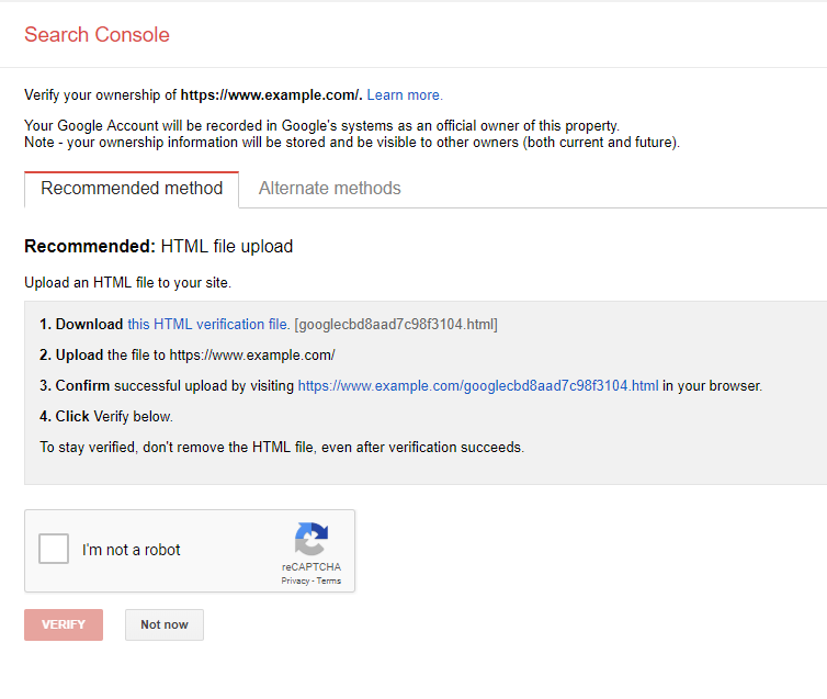 google search console step 2